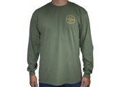 Hunting Long Sleeve Shirt. Ogie™ Hunting. Army Green and Yellow hunting shirt. Outdoor apparel. EST. 2017. Hunt.  Comfortable cotton hunting t-shirt. Long sleeve.