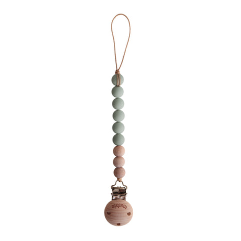 Fopspeenketting Mushie - sage/wood