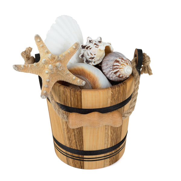 Seashells by the Seashore Wooden Bucket Set