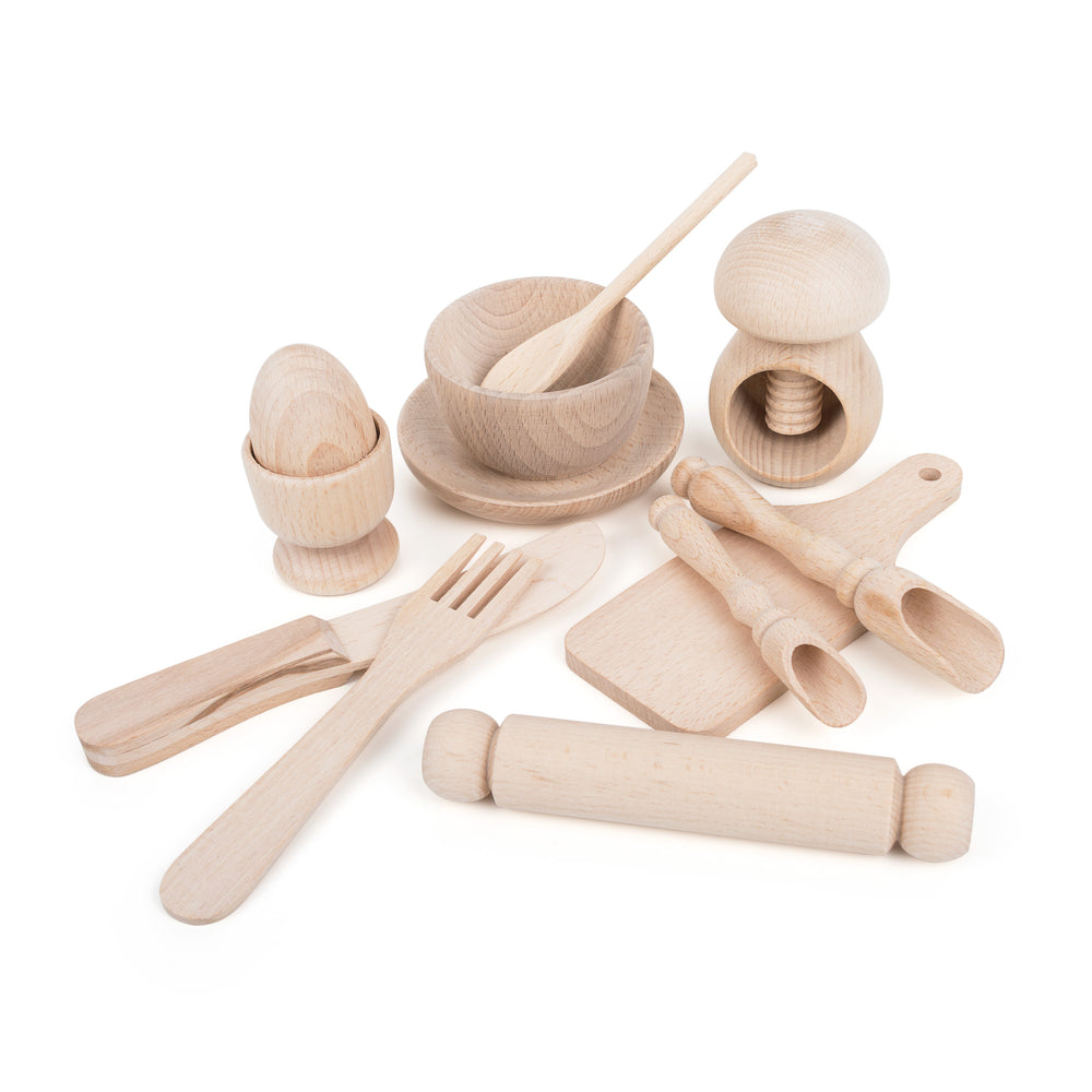 """Lets Bake"" Montessori 100% Natural Wooden Kitchen Set"