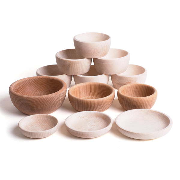 12 Wooden Natural Bowls