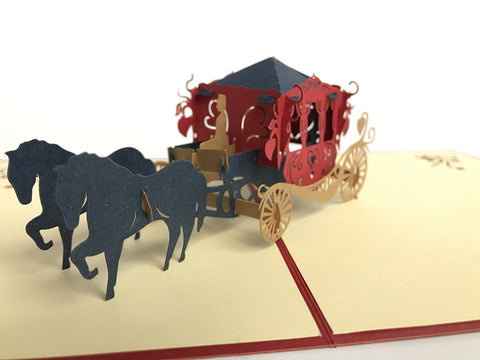 wedding carriage red 3d pop up card