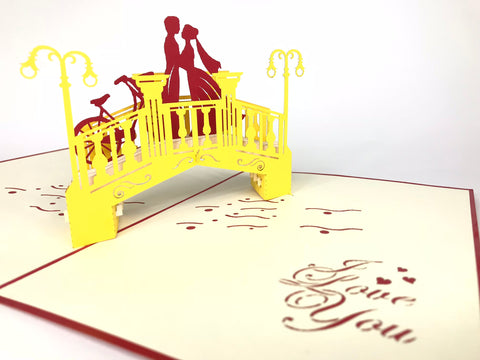 love couple on the bridge pop up card