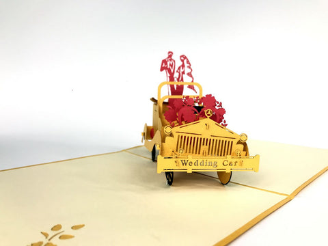 wedding golden car pop up card