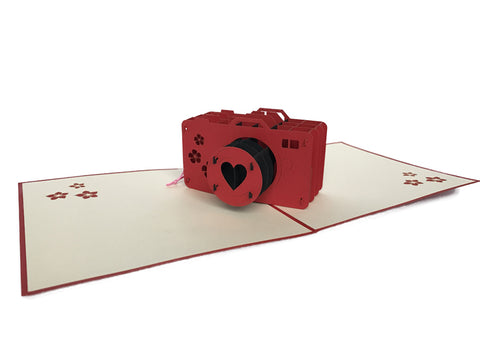 Red Camera Pop Up Card