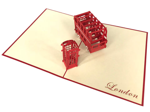 London Bus & Telephone Box Pop Up Card