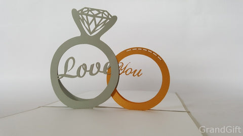 two rings silver and golden 3d popup engagement wedding gift card