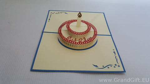 birthday cake with one candle on the top 3d pop up card