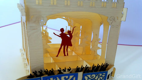 couple dancing inside a theater 3d popup card