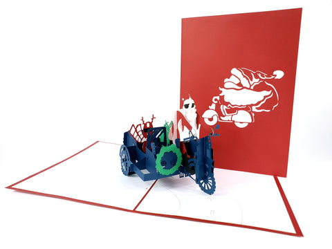 Santa Motorbike Pop Up Card