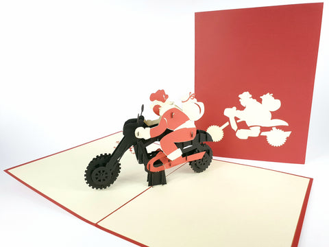 Santa Black Motorbike Pop Up Card