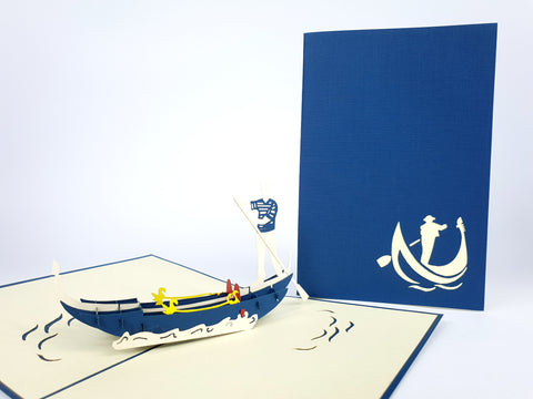 Venice Gondole Navy Pop Up Card