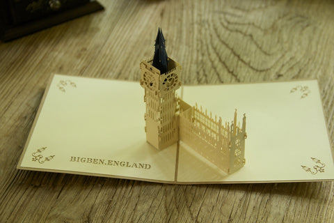 brown big ben 3d popup england london monument gift card