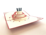 birthday cake with a three candles on the top 3d pop up birthday card