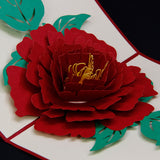 big red rose blossom 3d popup flower gift card
