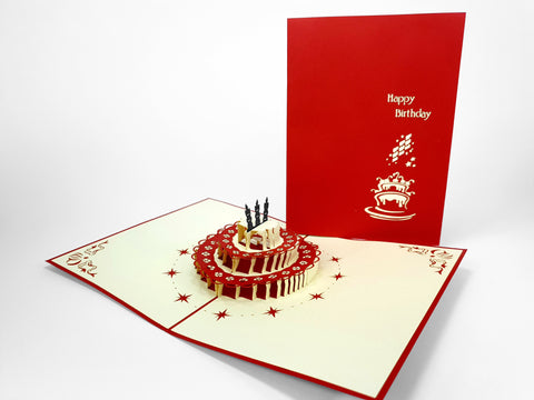 3 Candles Birthday Cake Red Pop Up Card