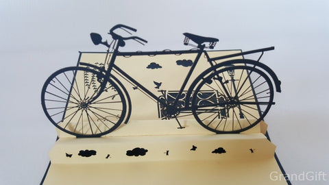 old school vintage bike hipster popup card