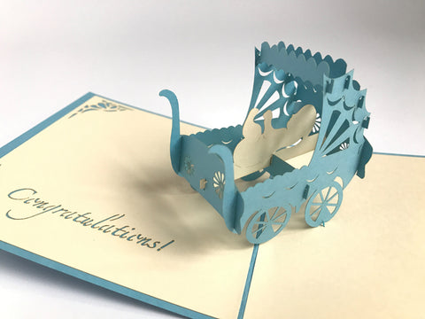blue baby newborn carriage 3d popup card