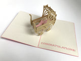 brown baby newborn carriage 3d popup card