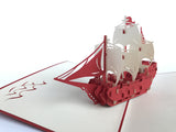 red sailing boat on the sea 3d popup card
