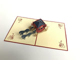 wedding red carriage with a couple inside 3d pop up card