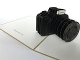 black photography camera popup card