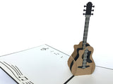 black acoustic guitar music popup card