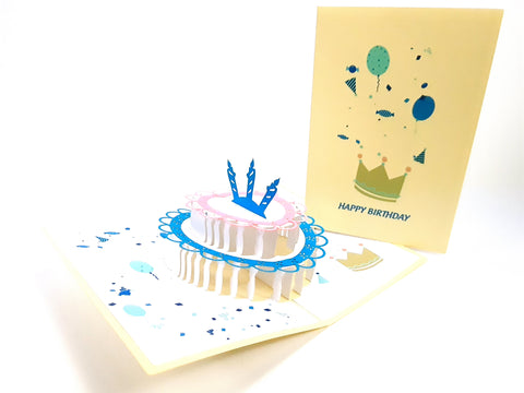 Color Three Candle Cake Pop Up Card