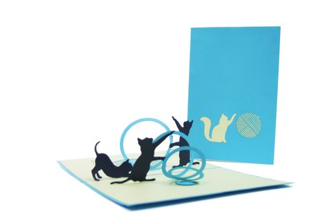 Playing Cats Pop Up Card