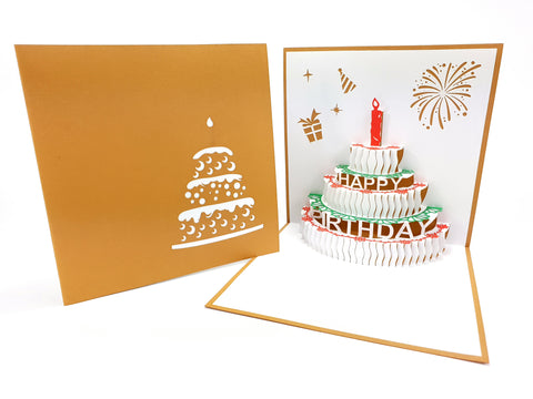 Birthday Cake Gold Pop Up Card