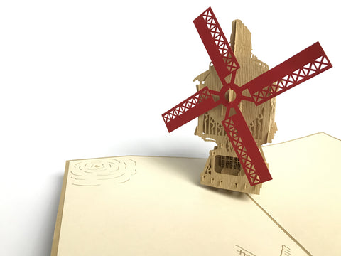 wooden windmill 3d popup gift card
