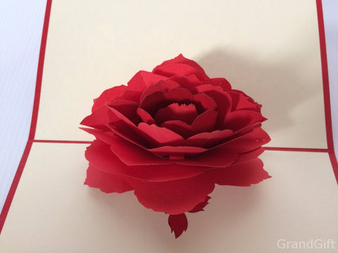 big red rose blossom 3d popup love gift card