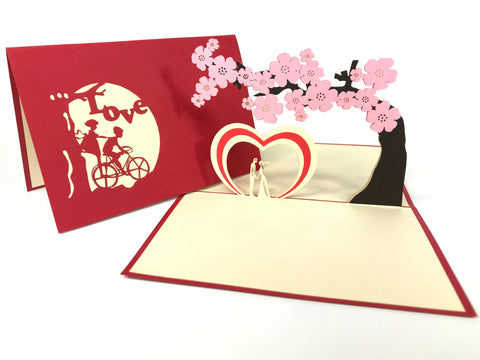 Lovers Under Blossom Tree Pop Up Card