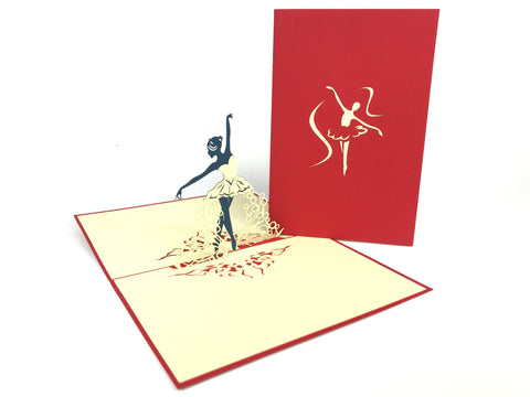 Ballerina Red Pop Up Card