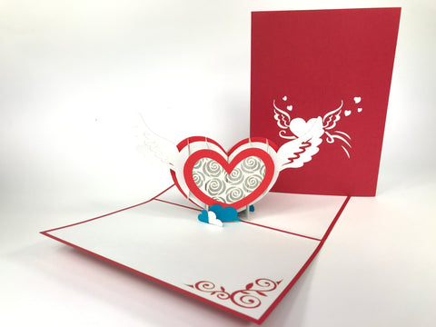 Winged Heart Pop Up Card