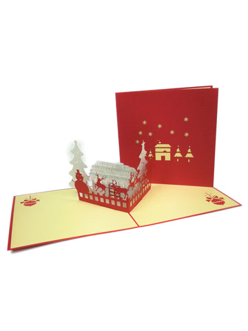 Santa's Winter House Pop Up Card