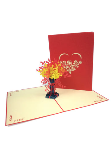Red Love Flowers Pop Up Card