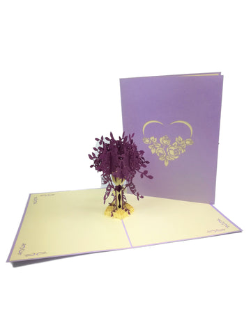 Purple Love Flowers Pop Up Card
