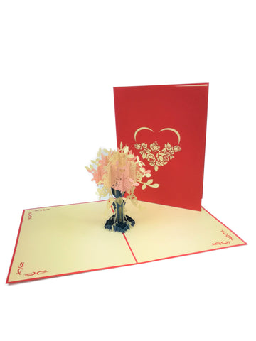 Pink Love Flowers Pop Up Card