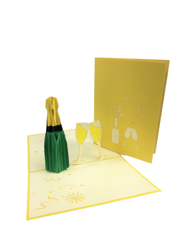 Yellow Champagne Congratulation Pop Up Card