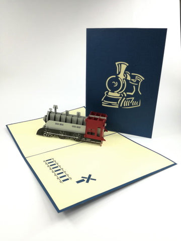 Navy Train Pop Up Card