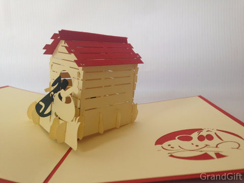 dog kennel with a happy dog inside 3d popup animal gift card