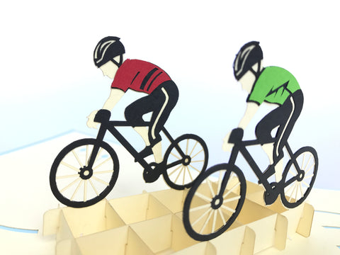 cyclist team on the bikes 3d sport popup card