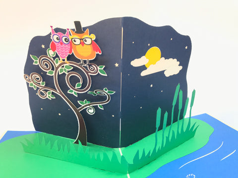 two wise owls on the tree popup card