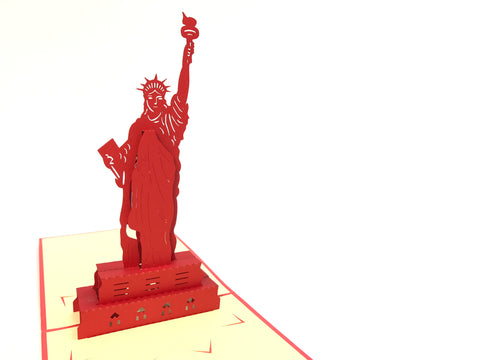 red statue of liberty new york city popup card