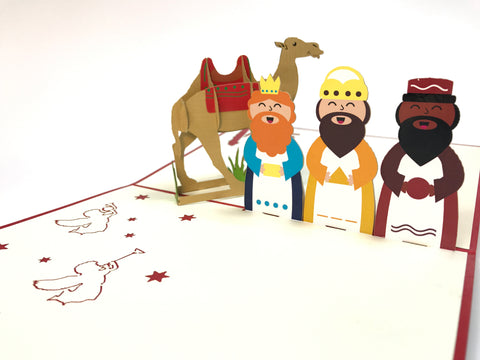three wise men and a camel christmas popup card