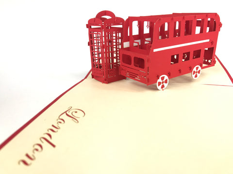 london bus and public telephone box 3d popup england card