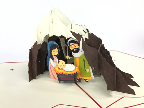Jesus Christ holy born under mountains christmas popup card