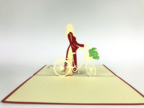 lady with bicycle 3d popup bike gift card