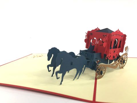 red love carriage black horses 3d popup card